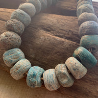 Strand of Old Blue Hebron Glass Beads