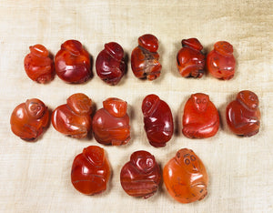 Vintage Carved Carnelian Monkey Beads