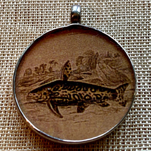 Antique Print, Fish Pendant