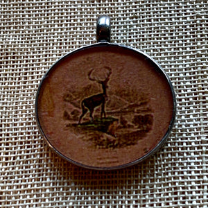 Antique Print, Buck Pendant