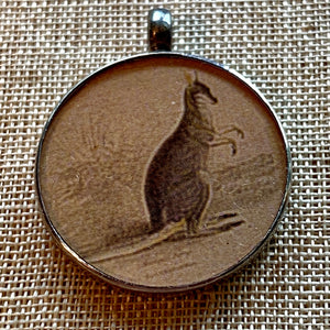 Antique Print, Kangaroo Pendant