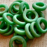 Opaque Green Glass Rings