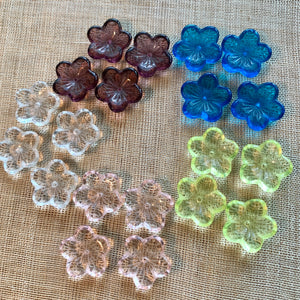 Large 5-Petal Glass Flowers, 5 Colors!