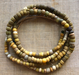 Yellow and Green Hebron Beads from Sudan