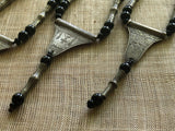 Tuareg Silver and Black Glass Necklace