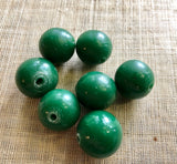 20mm Opaque Green Glass Beads, 1800's