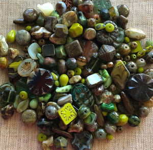 Special Green Czech Glass Mix