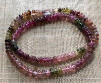 Tourmaline Smooth Rondelles, Strand