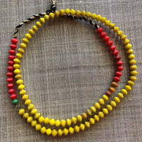 Pressed Yellow & Red Grooved Bicone