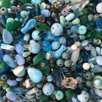 Mixed Teal Glass One Pound Bag