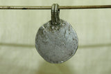 Antique coin silver - plain, lightweight disc with loop
