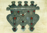 Large Silver and Carnelian Turkman Double Heart Pendant