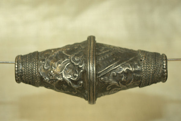 Large Afghan Silver Bicone Bead