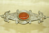 Turkman coin silver medium bead with orange glass