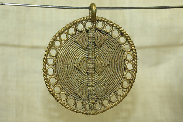 Baule Rough Shield-shaped Brass pendant