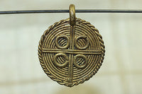 Small Baule Rough Shield-shaped Brass pendant
