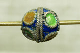 Small Silver and Enamel Berber Bead