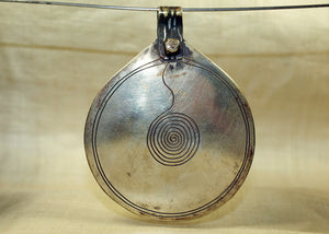 "Huge Vintage Moroccan Silver Berber ""Eye of God"" Pendant"