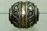 Large Egg Shaped Moroccan Silver & Brass Bead