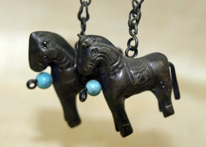Vintage Silver Chinese Horse Earrings from the 1970s