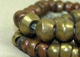 Strand of Antique Bronze and Brass Beads from Ethiopia