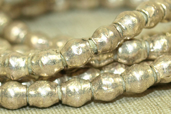 Strand of New 4mm x 4mm Silver Bicones from Ethiopia