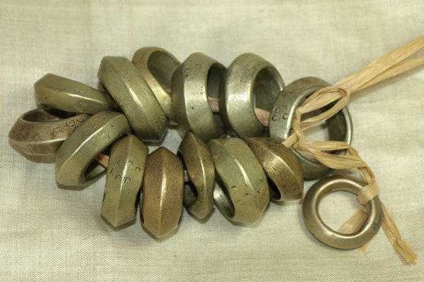 Strand Heavy solid antique White brass Hair Rings from ethiopia