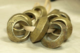 large and Heavy solid cast antique brass & Bronze Hair Rings from ethiopia