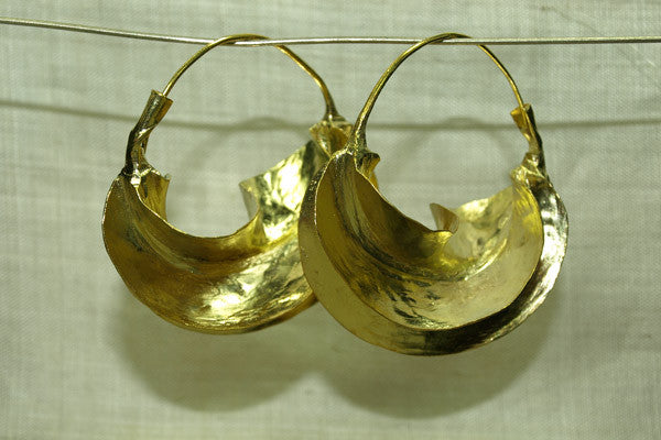 Super Shiney Fulani Brass Earrings, Medium