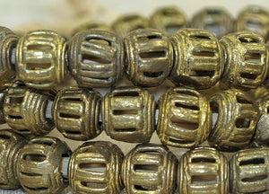 Strand of Small 9mm Brass Basket Beads from Ghana