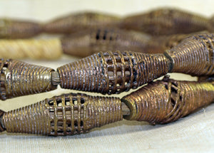 Strand of Traditional Brass Bicone Beads from Ghana