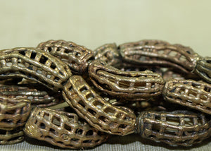 Strand of Brass Hatched Crescent Beads from Ghana