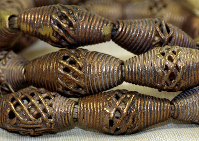 Strand of Small Traditional Brass Bicone Beads from Ghana
