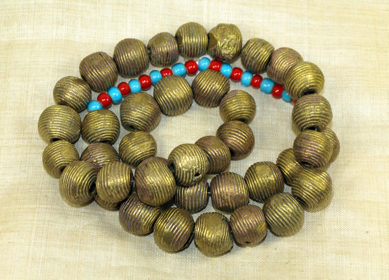 Heavy Cast Brass Round Beads from Ghana