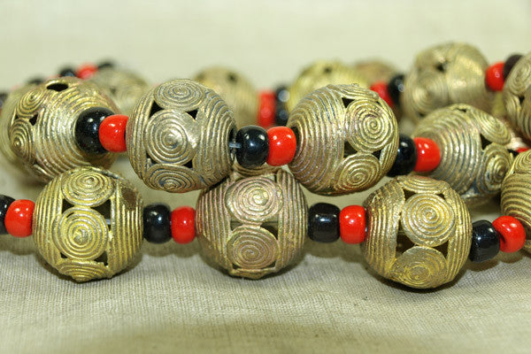 classic Brass round bead from Ghana, strand