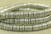 Solid silver color Heishi beads from India