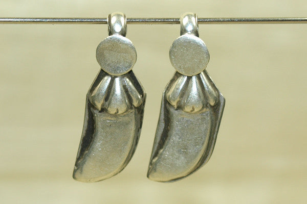 Antique silver domed Pepper dangles, pair