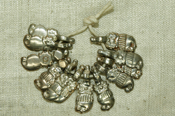 Set of 12 Silver Dangle Beads