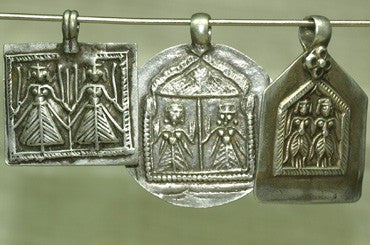 "Set of Antique Silver ""Twin Deities"" Amulets"