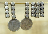 Set of Antique Silver Spacers from India