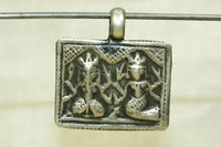 India Silver Ganesha and Parvati Amulet
