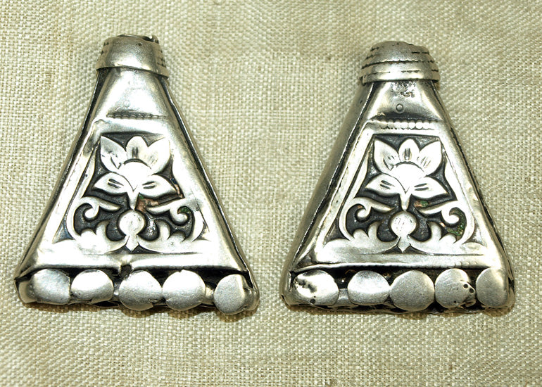 Pair of 6 Strand Flat Antique Silver Cones from India