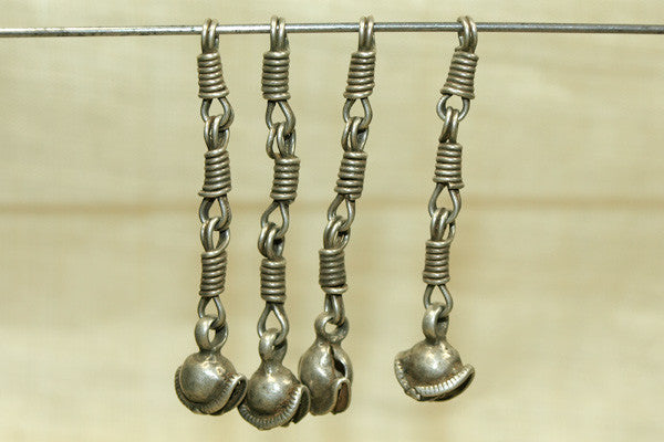 Small Silver Scalloped Bell Dangle from India