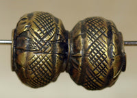 Pair of Antique Brass Beads from India