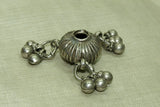 Old Silver Fluted bead with dangles from India
