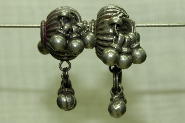 Pair of Old Silver Fluted bead with dangles from India