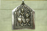 Huge Antique Solid Silver Durga Pedant from India
