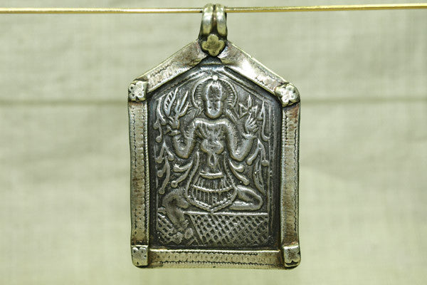 Huge Antique Silver Shiva Pedant from India