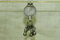 Antique 1/4 Rupee silver Pendant from india