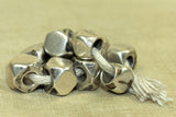 Antique Coin Silver cornerless cube Beads from India